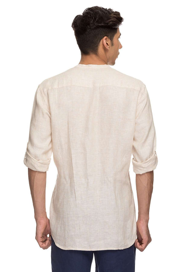 Cottonworld Men's Shirts Mens Long Sleeves Roll Up Tab Button Regular Fit 100% Linen Shirts - Biscuit
