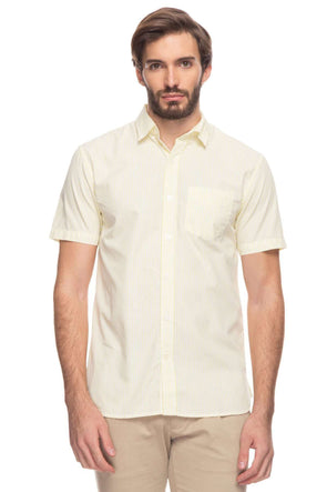 Cottonworld Men's Shirts Mens Short Sleeve Regular Fit Button Down Pin Striped Shirt