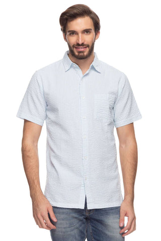 Cottonworld Men's Shirts Mens Short Sleeve Regular Fit Seer Sucker Striped Shirt