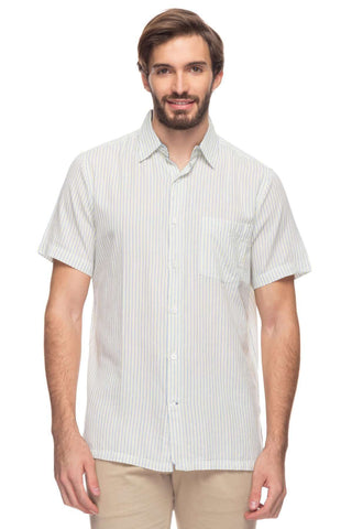 Cottonworld Men's Shirts Mens Short Sleeve Regular Fit Striped Shirt
