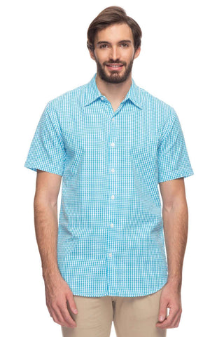 Cottonworld Men's Shirts Mens Short Sleeve Slim Fit Seer Sucker Checked Shirt