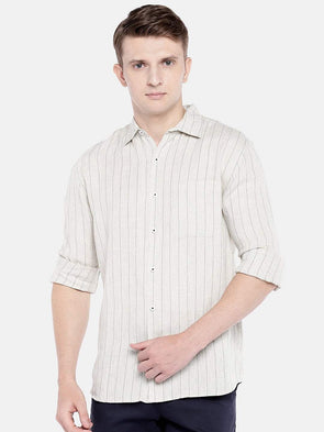 Cottonworld Men's Shirts SMALL / BEIGE Men's Linen Woven Natural Regular Fit Shirts