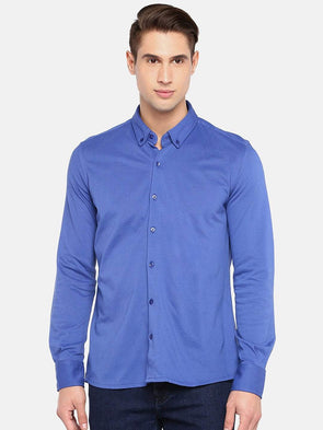 Men's Cotton Knit Blue Slim Fit Shirts Cottonworld Men's Shirts