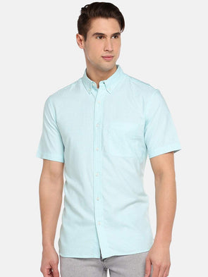 Cottonworld Men's Shirts SMALL / BLUE Men's 100% Cotton Woven Aqua Regular Fit Shirts