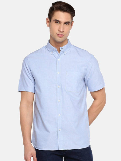 Cottonworld Men's Shirts SMALL / BLUE Men's 100% Cotton Woven Blue Regular Fit Shirts
