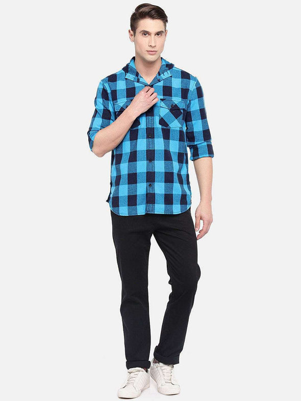 Men's Cotton Blue Slim Fit Shirt Cottonworld Men's Shirts