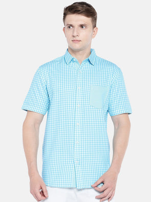 Men's Cotton Woven Blue Regular Fit Shirts Cottonworld Men's Shirts