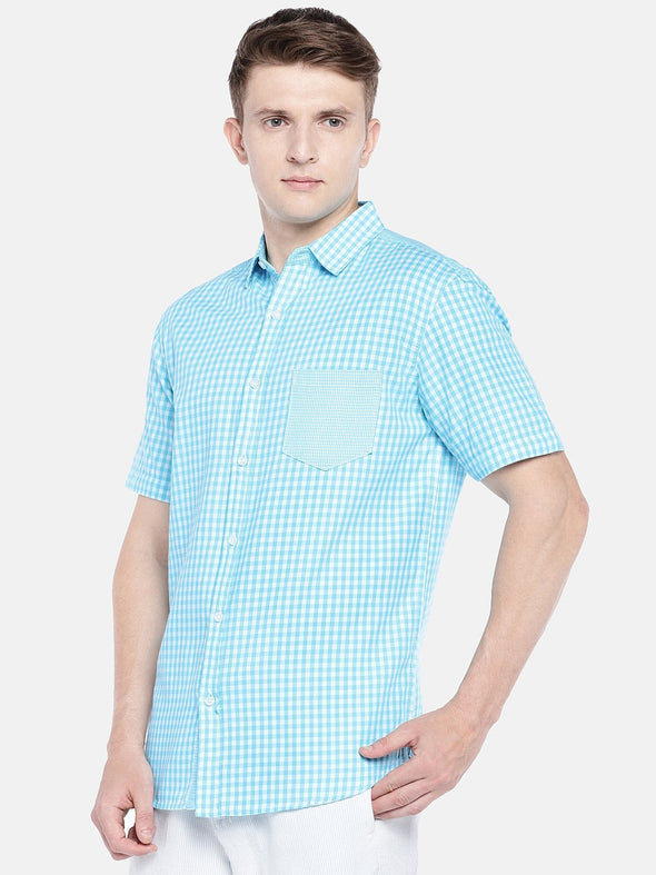 Cottonworld Men's Shirts SMALL / BLUE Men's Cotton Woven Blue Regular Fit Shirts