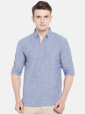 Men's Cotton Woven Blue Regular Fit Kurta Shirt Cottonworld Men's Shirts