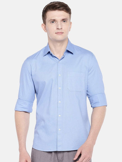 Cottonworld Men's Shirts SMALL / BLUE Men's Cotton Woven Sky Slim Fit Shirts