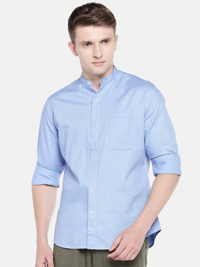 Men's Cotton Woven Sky Slim Fit Shirts Cottonworld Men's Shirts