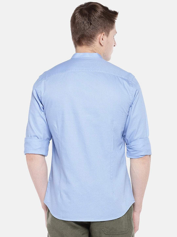 Men's Cotton Woven Sky Slim Fit Shirt Cottonworld Men's Shirts