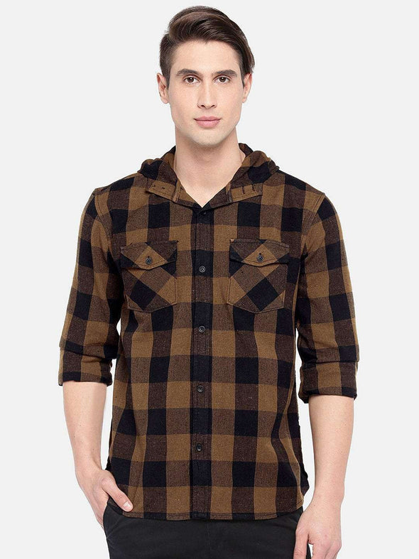 Men's Cotton Brown Slim Fit Shirts Cottonworld Men's Shirts