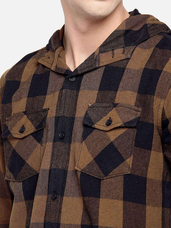 Men's Cotton Brown Slim Fit Shirt Cottonworld Men's Shirts