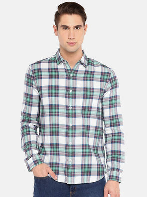 Cottonworld Men's Shirts SMALL / GREEN Men's 100% Cotton Woven Green Regular Fit Shirts