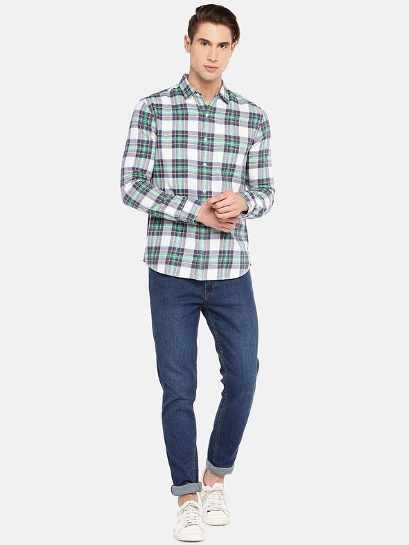 Men's Cotton Green Flannel  Regular Fit Check Shirt Cottonworld Men's Shirts
