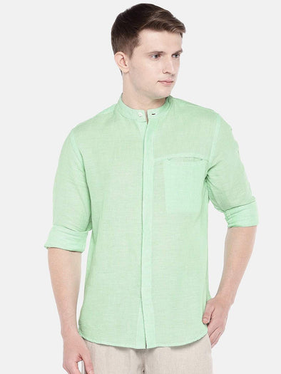 Cottonworld Men's Shirts SMALL / GREEN Men's Cotton Linen Woven Green Slim Fit Shirts