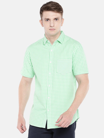 Cottonworld Men's Shirts SMALL / GREEN Men's Cotton Woven Green Regular Fit Shirts