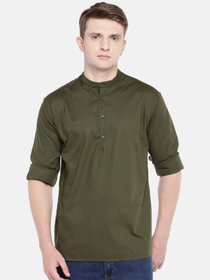 Cottonworld Men's Shirts SMALL / GREEN Men's Cotton Woven Military G Regular Fit Shirts