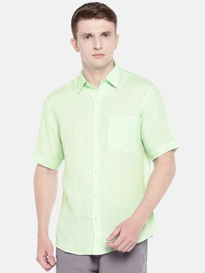 Cottonworld Men's Shirts SMALL / GREEN Men's Linen Woven Green Regular Fit Shirts