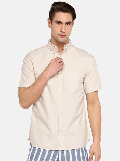 Cottonworld Men's Shirts SMALL / KHAKI Men's 100% Cotton Woven Khaki Regular Fit Shirts