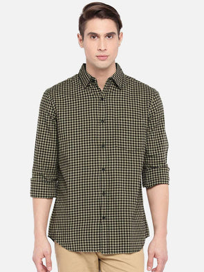 Men's Cotton Khaki/Black Regular Fit Shirts Cottonworld Men's Shirts