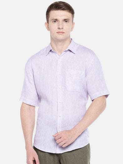 Cottonworld Men's Shirts SMALL /  LAVENDER Men's Linen Woven Lilac Regular Fit Shirts