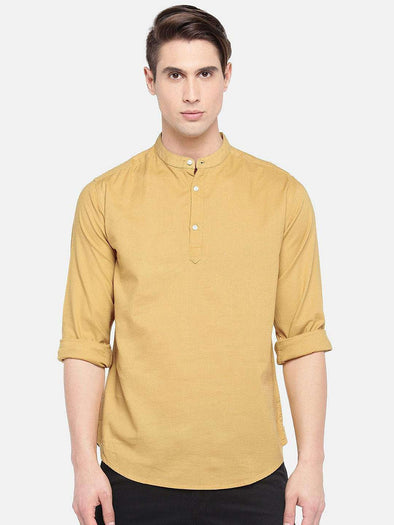 Cottonworld Men's Shirts SMALL / MUSTARD Men's Cotton Woven Mustard Regular Fit Shirts