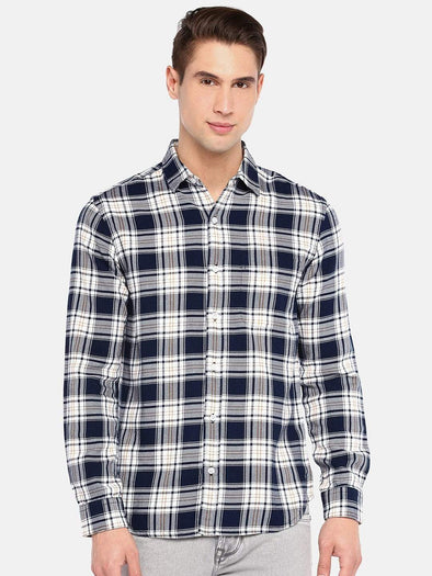 Men's Cotton  Navy Flannel Regular Fit Check Shirt Cottonworld Men's Shirts