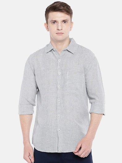 Cottonworld Men's Shirts SMALL / NAVY Men's Cotton Linen Woven Navy Regular Fit Shirts