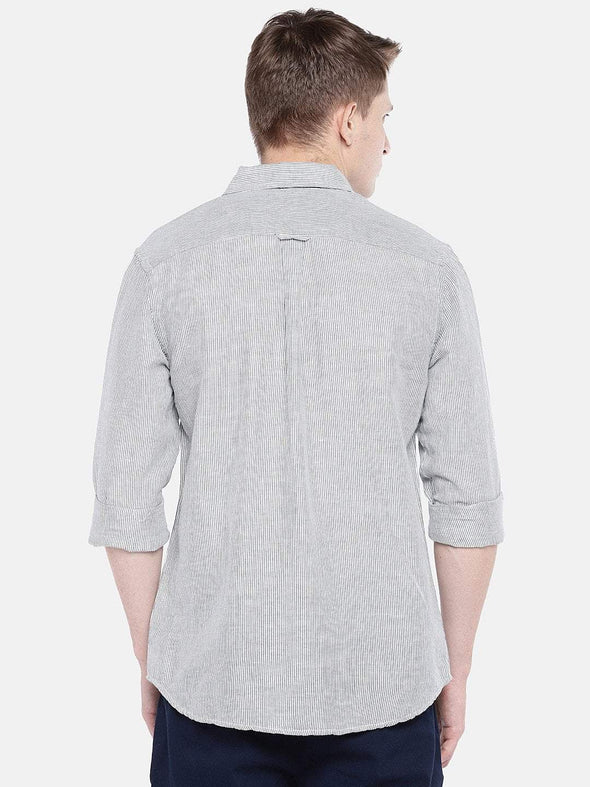 Men's Cotton Linen Woven Navy Regular Fit Shirts Cottonworld Men's Shirts
