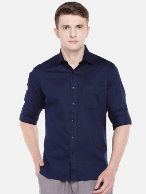Cottonworld Men's Shirts SMALL / NAVY Men's Cotton Woven Navy Slim Fit Shirts