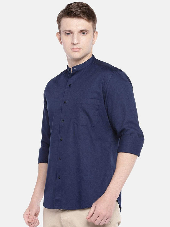 Men's Cotton Woven Navy Slim Fit Shirts Cottonworld Men's Shirts