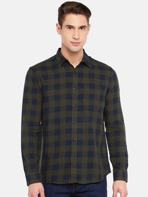 Men's Cotton  Olive Flannel Regular  Fit Check Shirt Cottonworld Men's Shirts