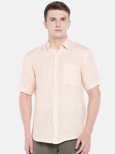 Cottonworld Men's Shirts SMALL / PEACH Men's Linen Woven Peach Regular Fit Shirts