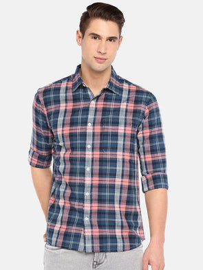 Cottonworld Men's Shirts SMALL / PINK Men's 100% Cotton Woven Pink Regular Fit Shirts