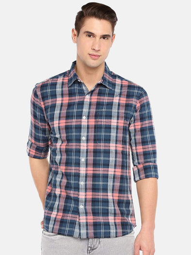 Men's Cotton Pink Melange  Regular Fit Check Shirt Cottonworld Men's Shirts