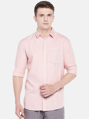 Cottonworld Men's Shirts SMALL / PINK Men's Cotton Woven Pink Regular Fit Shirts