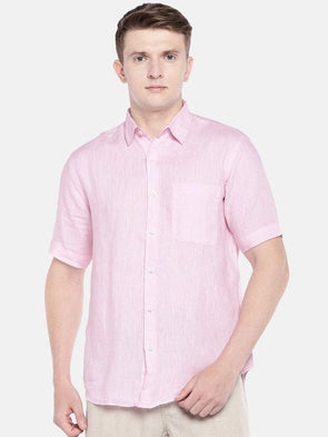 Men's Linen Woven Dk Pink Regular Fit Shirts Cottonworld Men's Shirts