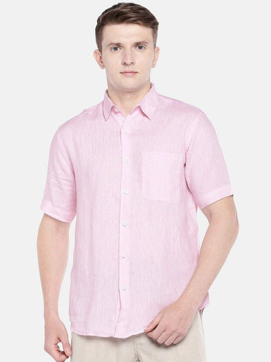 Cottonworld Men's Shirts SMALL / PINK Men's Linen Woven Dk Pink Regular Fit Shirts