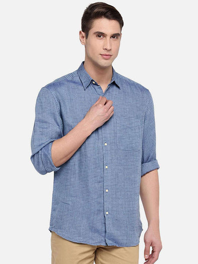 Cottonworld Men's Shirts SMALL / TURQUOISE Men's Linen Woven Turquoise Regular Fit Shirts