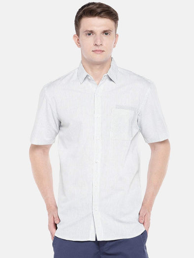 Men's Cotton Linen Woven White Regular Fit Shirt Cottonworld Men's Shirts