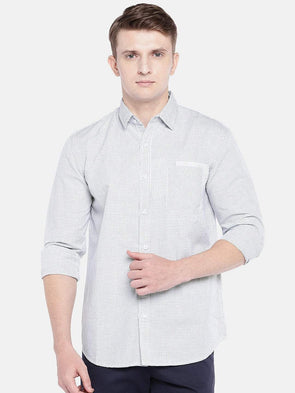 Cottonworld Men's Shirts SMALL / WHITE Men's Cotton Linen Woven White Regular Fit Shirts