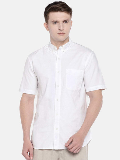 Cottonworld Men's Shirts SMALL / WHITE Men's Cotton Woven White Regular Fit Shirts