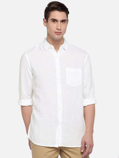 Cottonworld Men's Shirts SMALL / WHITE Men's Linen Woven White Regular Fit Shirts