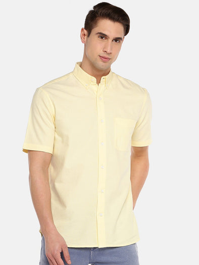 Cottonworld Men's Shirts SMALL / YELLOW Men's 100% Cotton Woven Yellow Regular Fit Shirts