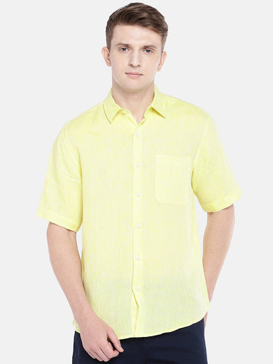 Cottonworld Men's Shirts SMALL / YELLOW Men's Linen Woven Yellow Regular Fit Shirts