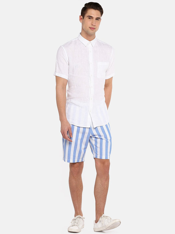 Men's Cotton Linen Woven Sky Blue Regular Fit Shorts Cottonworld Men's Shorts