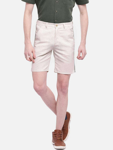 Cottonworld Men's Shorts MEN'S 95% COTTON 5% LINEN NATURAL REGULAR FIT SHORTS