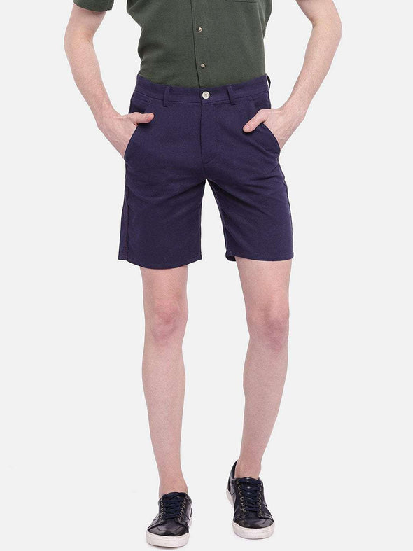 Cottonworld Men's Shorts MEN'S 95% COTTON 5% LINEN NAVY REGULAR FIT SHORTS